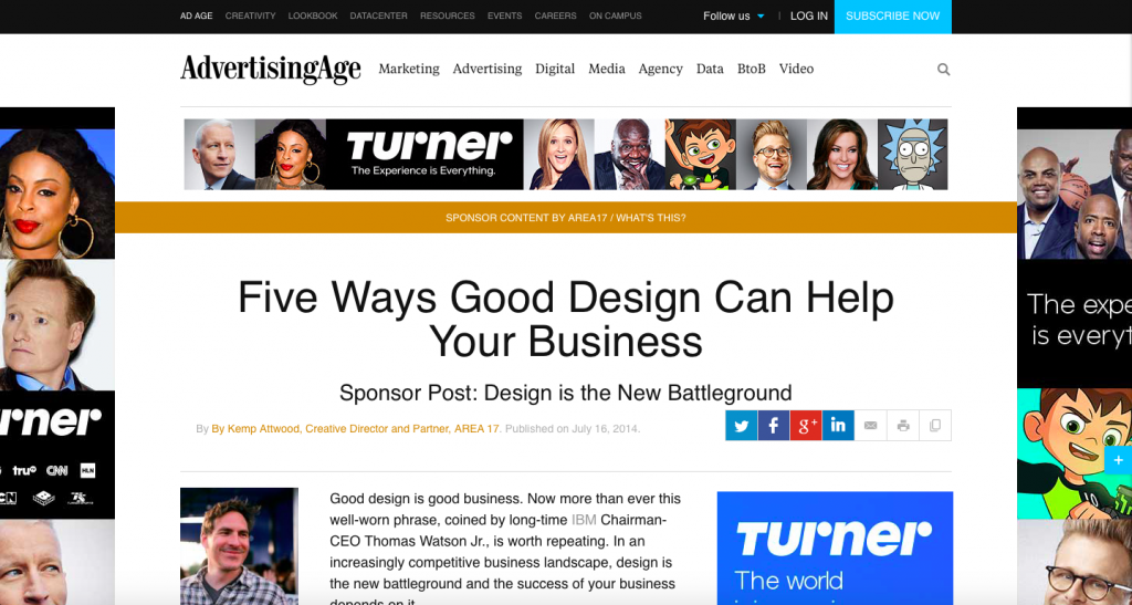 B2B Ads in Native; AREA17: Five Ways Good Design Can Help Your Business