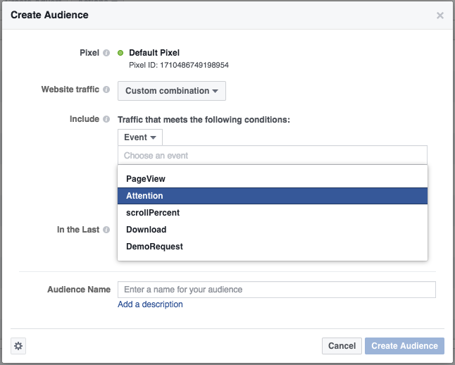 Screen shot creating a custom audience on Facebook using attention minutes through Nudge