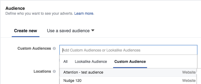 Choosing a custom audience for your creative on Facebook, using attention minutes