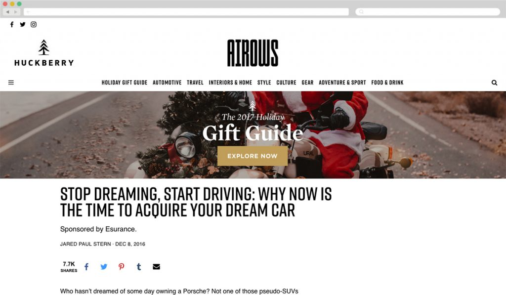 Airows + Esurance [Best Automotive] - Best Native Ads 2017