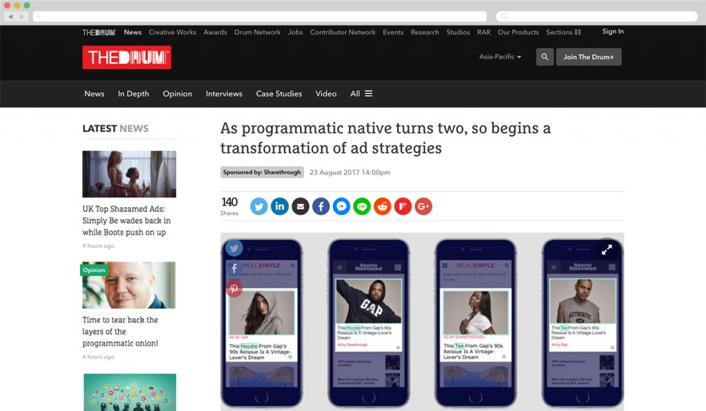 The Drum + Sharethrough [Best Native for Native] - Best Native Ads 2017
