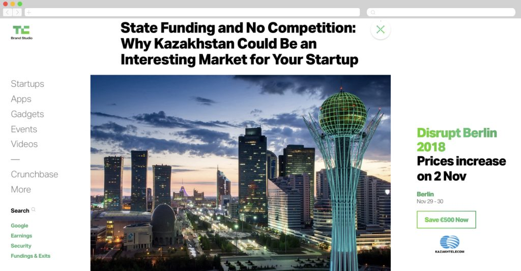Kazakhtelecom on Techcrunch