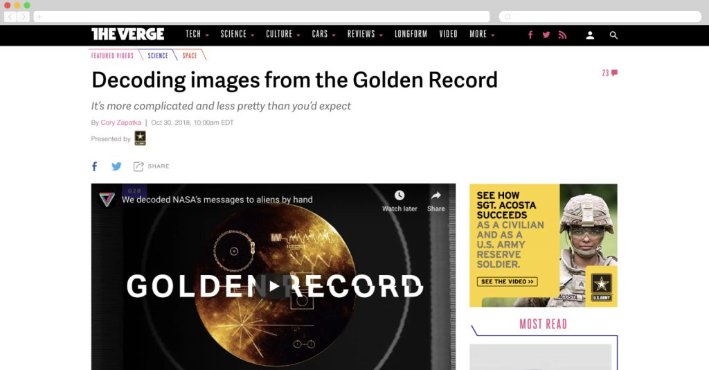 US Army on The Verge talking about decoding the Golden Records