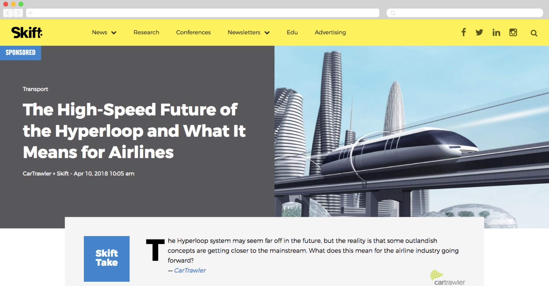 cartrawler on skift about hyperloop