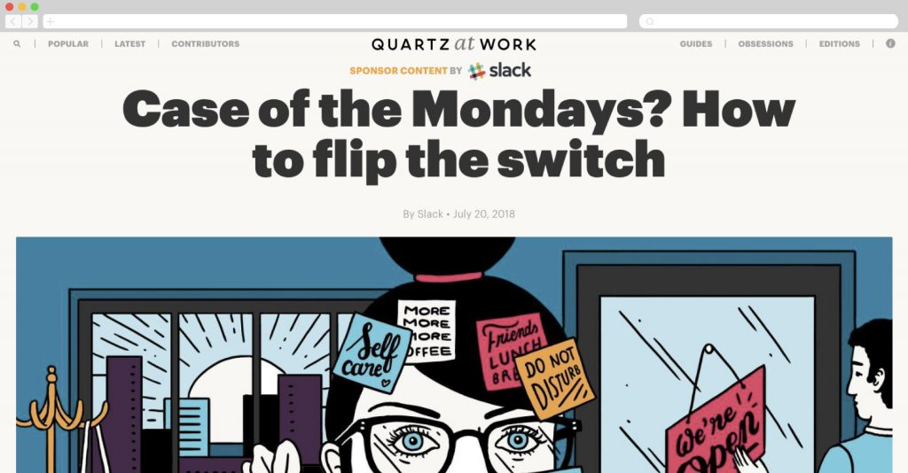 slack on quartz, tips for a productive monday