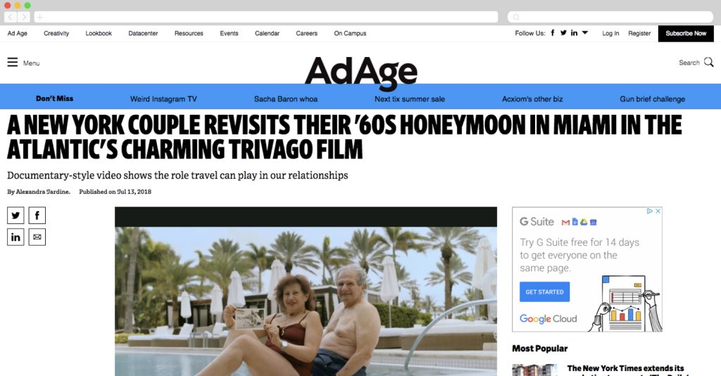 A New York Couple Revisits Their '60S Honeymoon in Miami in the Atlantic's Charming Trivago Film