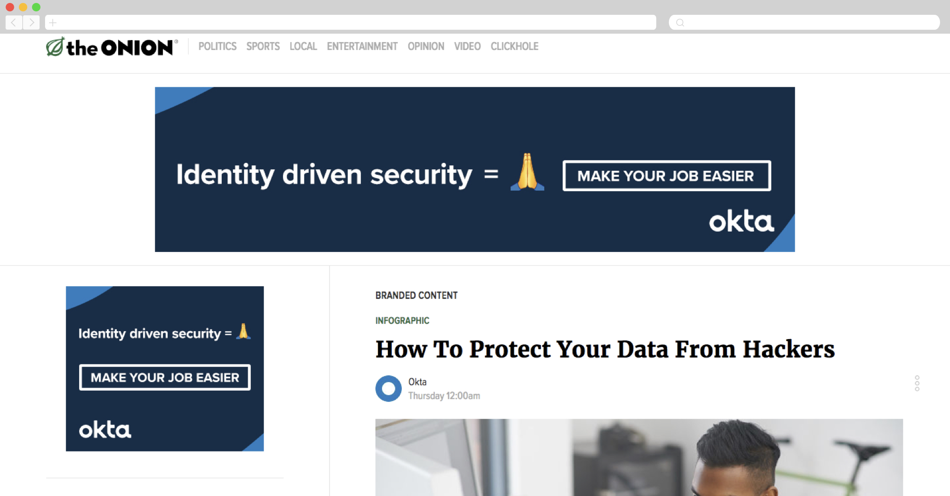 Okta + The Onion on Data Protection