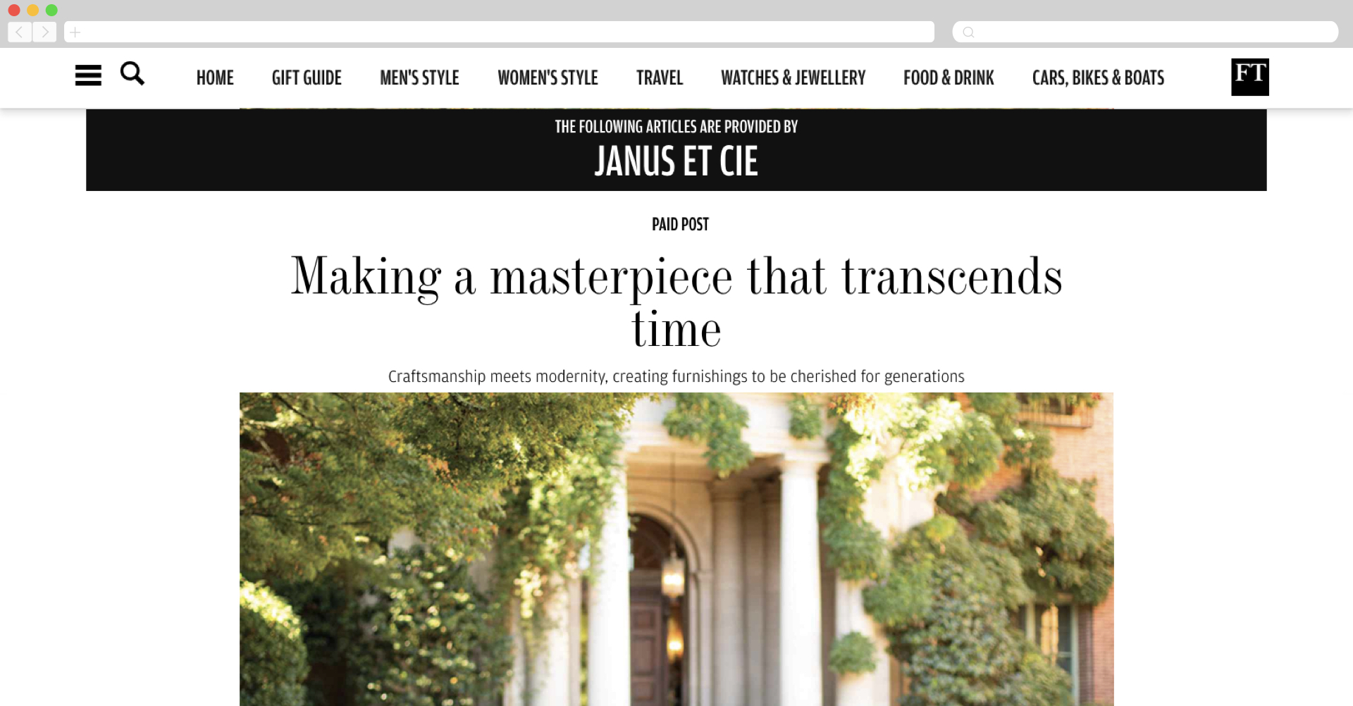 janus et cie with financial times