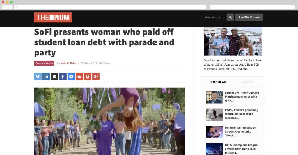 SoFi throws a paid off debt party