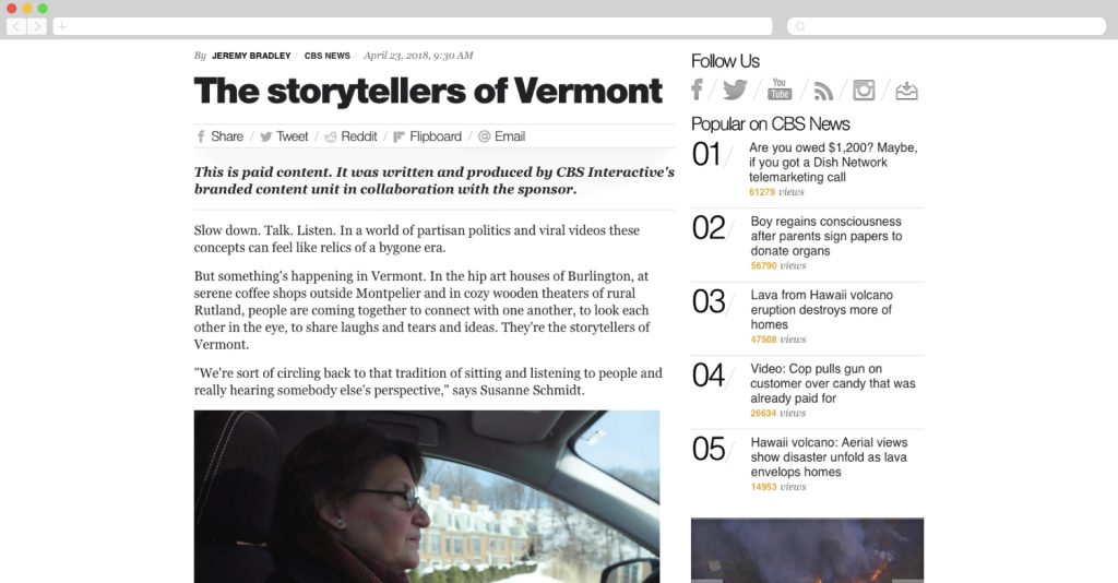 CBS + Toyota: The storytellers of vermont
