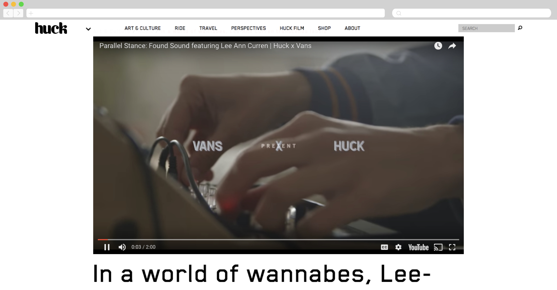 Van partners up with Huck to reach a niche audience.