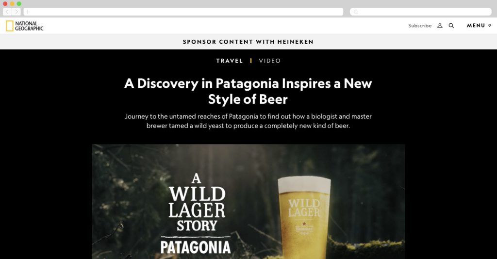Heineken on National Geographic about the new wild lager