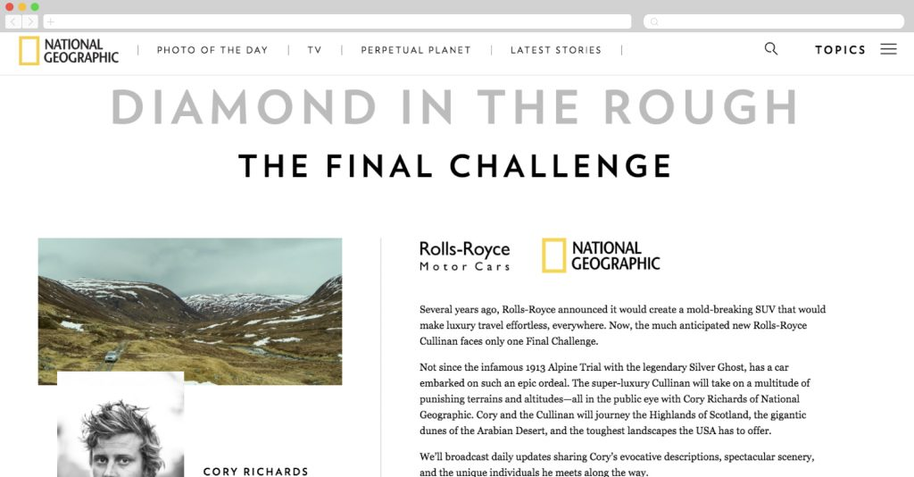National Geographic + Rolls Royce: Diamond in the Rough