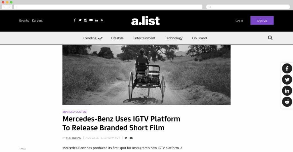 Mercedes-Benz makes a branded short film for IGTV