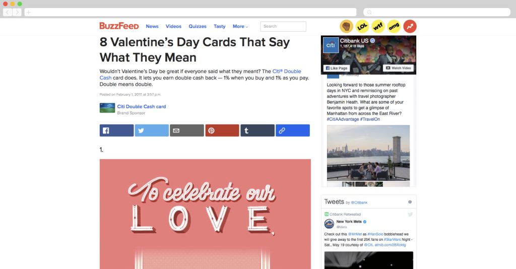Valentines Day ad by Citibank + Buzzfeed