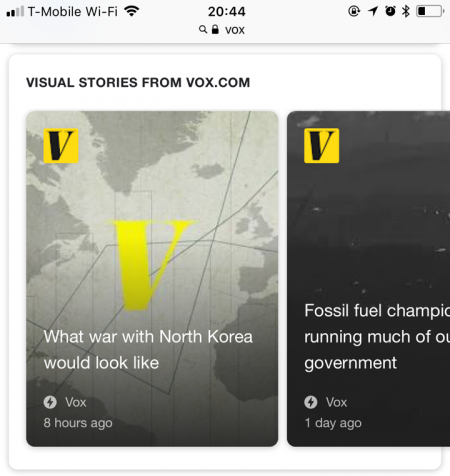 'Google AMP Stories' in mobile search results, here showing Vox