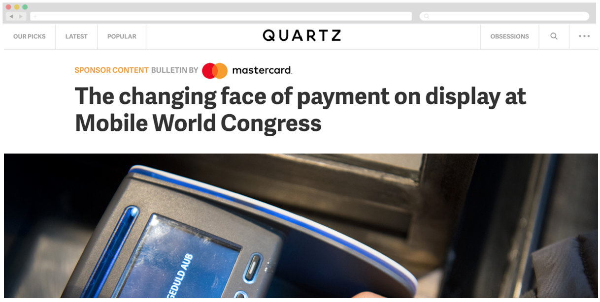 Mastercard + Quartz: The changing face of payment on display at Mobile World Congress