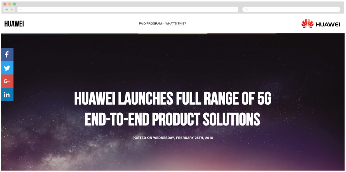 Huawei + WSJ: Huawei Launches Full Range of 5G End-to-End Product Solutions