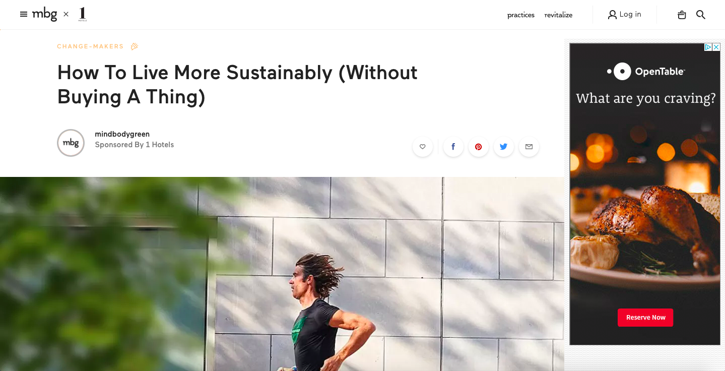1-Hotels + mindbodygreen, How To Live More Sustainably (Without Buying A Thing)
