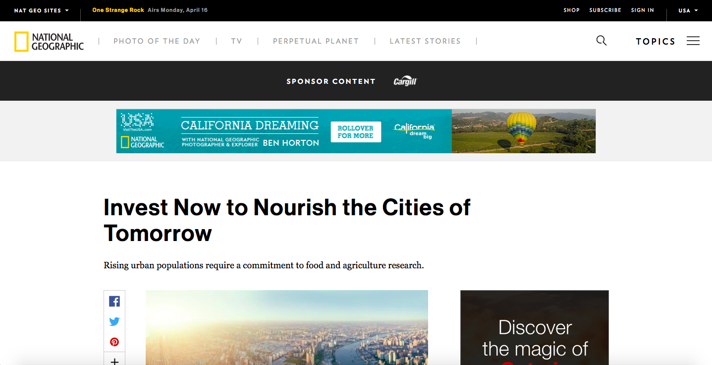 Cargill + National Geographic, Invest Now to Nourish the Cities of Tomorrow