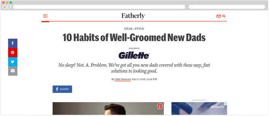 Gillette + Fatherly: 10 Habits of Well-Groomed New Dads