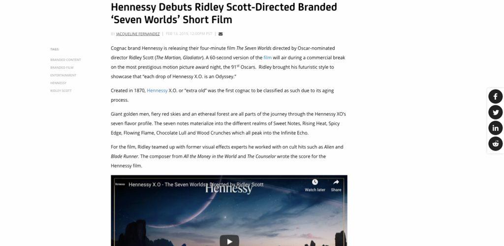 Ridley Scott's branded film for Hennessy