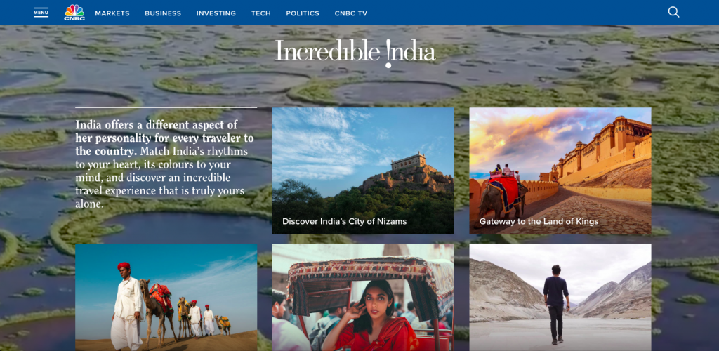 Incredible India advertorial on CNBC