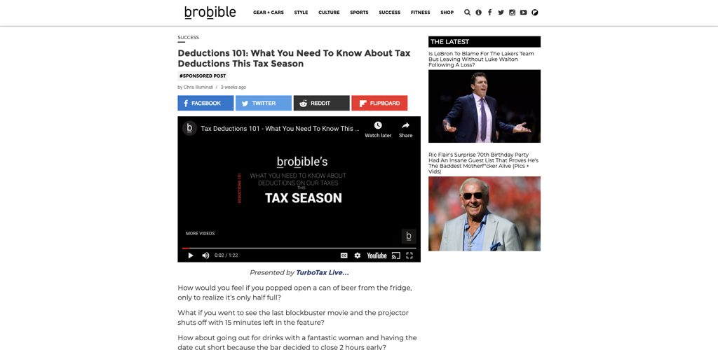 turbotax on brobible with tax deduction advice