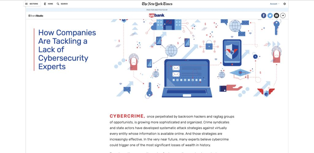 us bank on the new york times regarding cybersecurity
