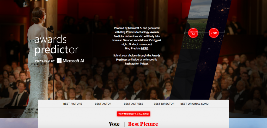 Microsoft on The Hollywood Reporter, The Award Predictor