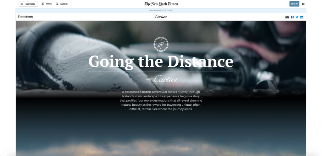 NYT + Cartier, Going The Distance