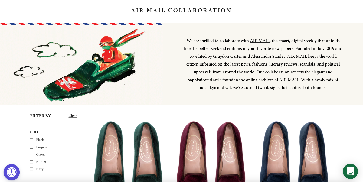 AirMailis doing a brand collaboration with Stubbs and Wootton. Content + Commerce.