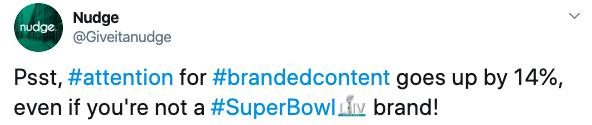 tweet by Nudge, on super bowl data
