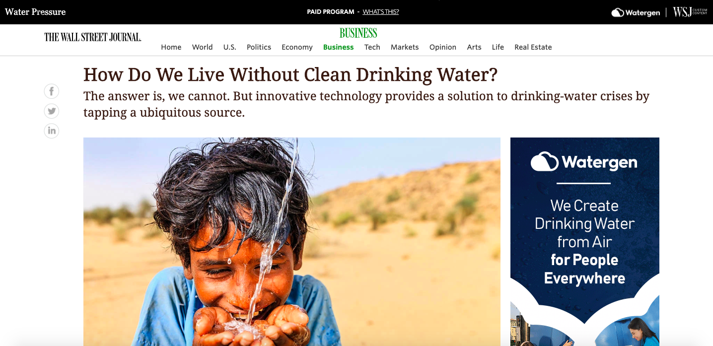 branded content by Watergen on WSJ