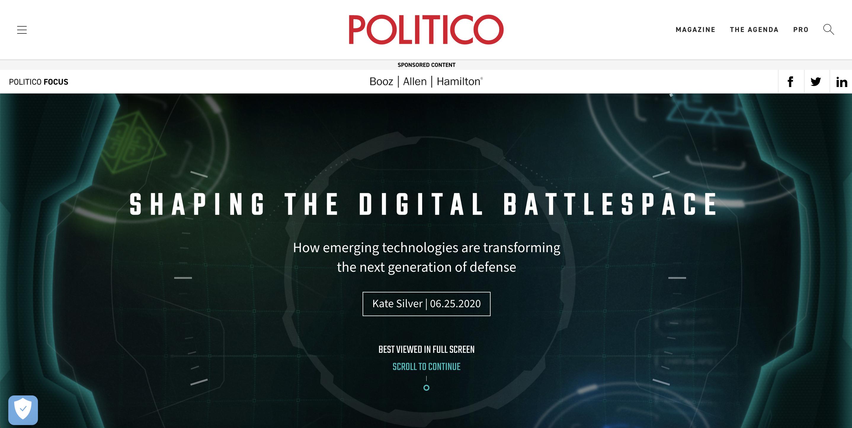 Branded content by Booz Allen Hamilton on Politico