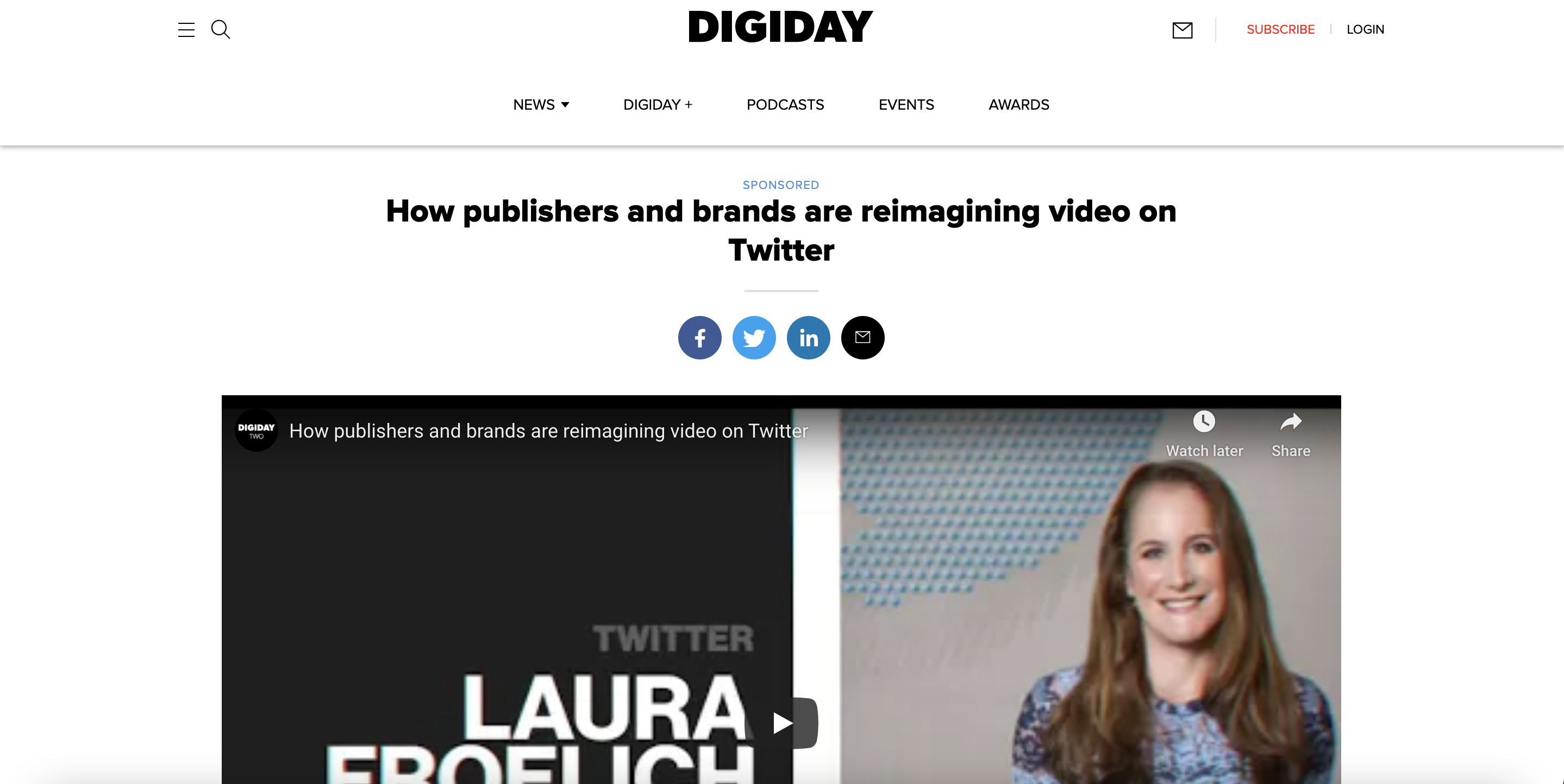 Branded content by Twitter on Digiday
