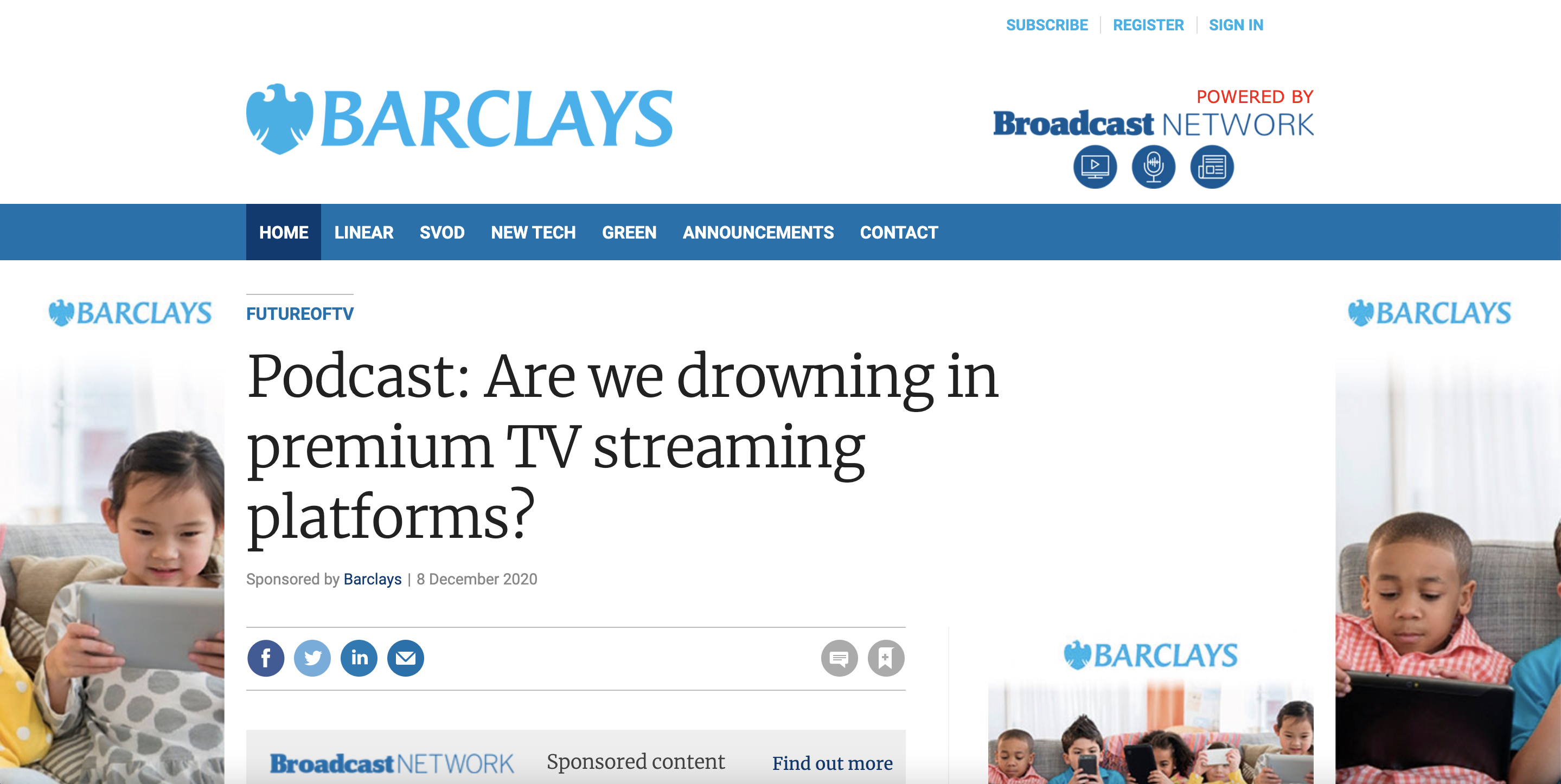 Branded content by Barclays with Broadcast network