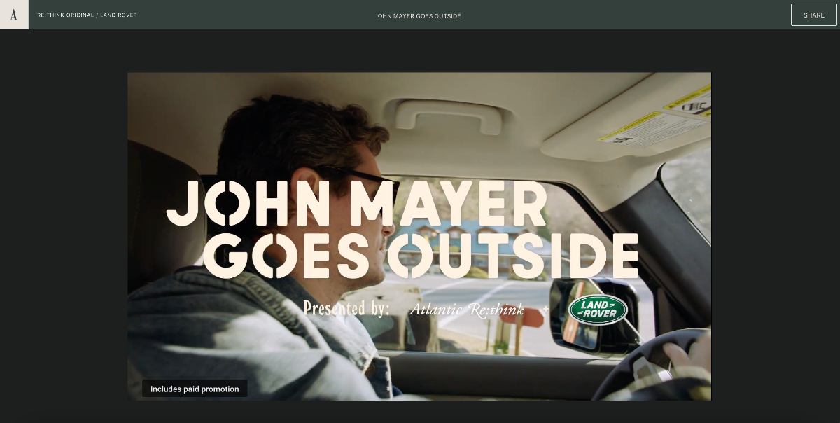 Branded content on The Atlantic by Range Rover