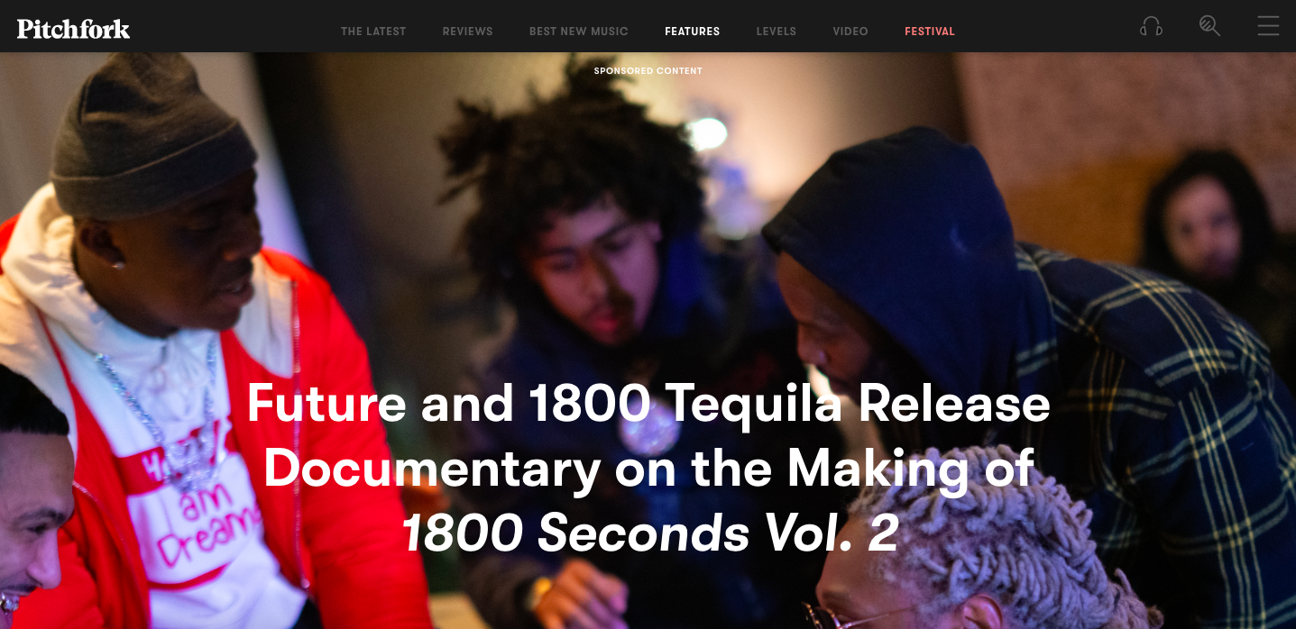 Branded content by Future and 1800 Tequila on Pitchfork