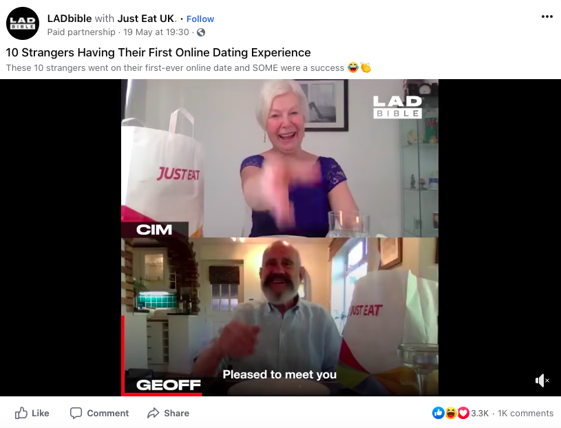 branded content by Just Eat UK on LADbible