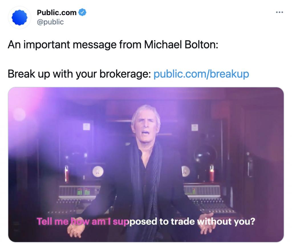 Public.com's content partnership with Michael Bolton