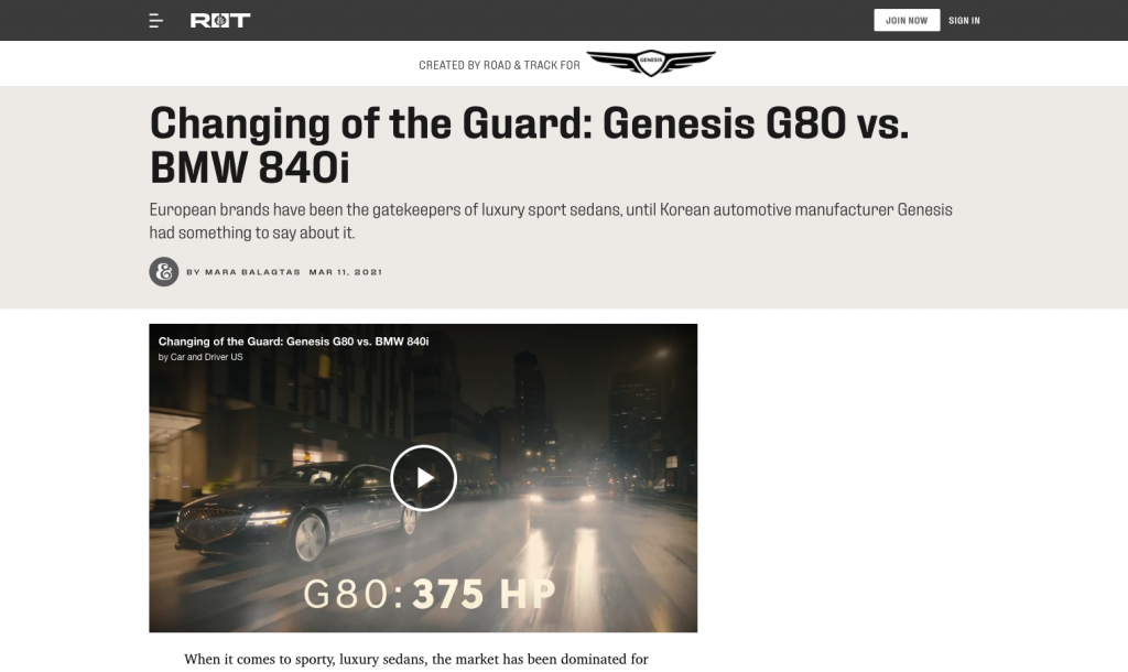 Branded content by genesis on road and track
